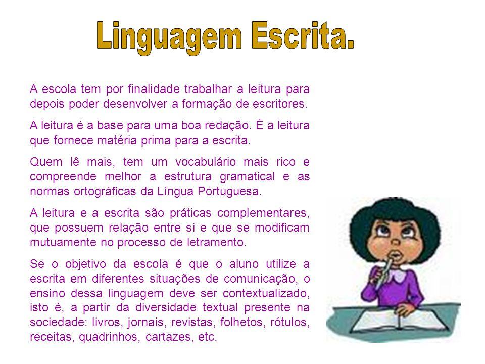 Linguagem Escrita. A escola tem por finalidade trabalhar a leitura para depois poder desenvolver a formação de escritores.