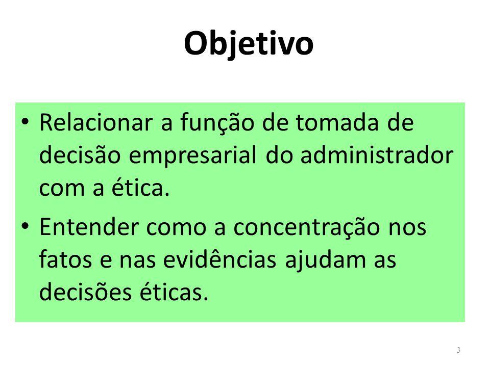 Objetivo Relacionar a função de tomada de decisão empresarial do administrador com a ética.