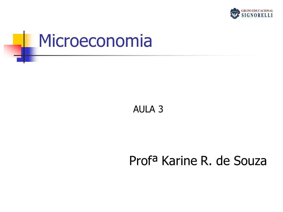 Microeconomia AULA 3 Profª Karine R. de Souza