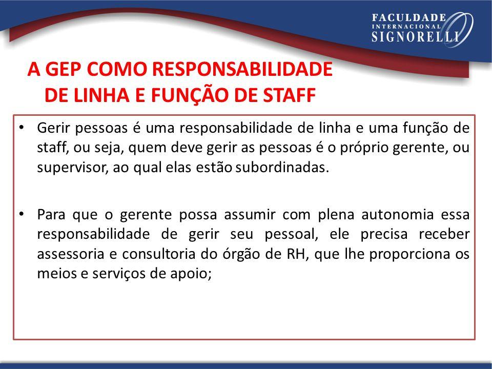 A GEP COMO RESPONSABILIDADE DE LINHA E FUNÇÃO DE STAFF