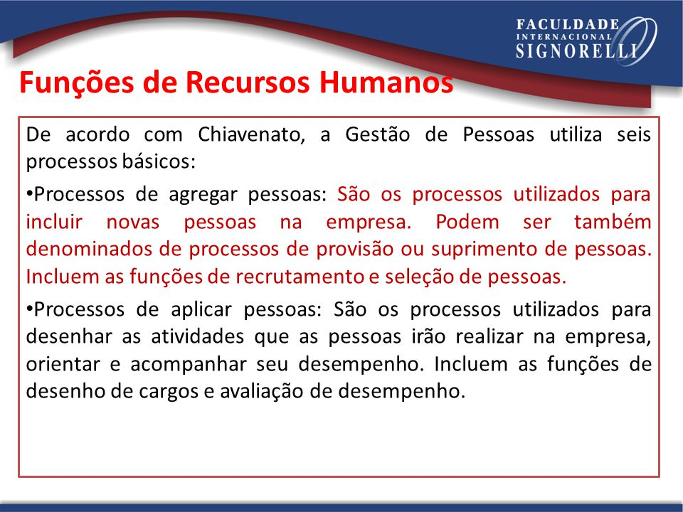 Funções de Recursos Humanos