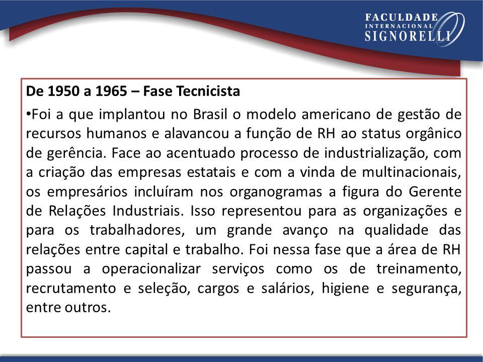 De 1950 a 1965 – Fase Tecnicista