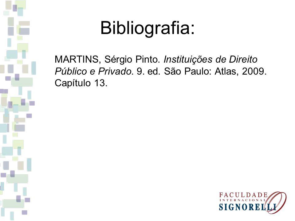 Bibliografia: MARTINS, Sérgio Pinto. Instituições de Direito Público e Privado.