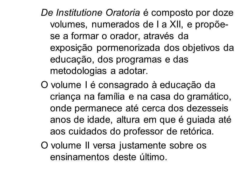 De Institutione Oratoria é composto por doze volumes, numerados de I a XII, e propõe-se a formar o orador, através da exposição pormenorizada dos objetivos da educação, dos programas e das metodologias a adotar.