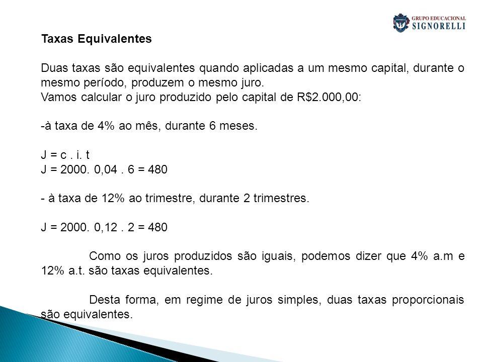 Taxas Equivalentes Duas taxas são equivalentes quando aplicadas a um mesmo capital, durante o mesmo período, produzem o mesmo juro.
