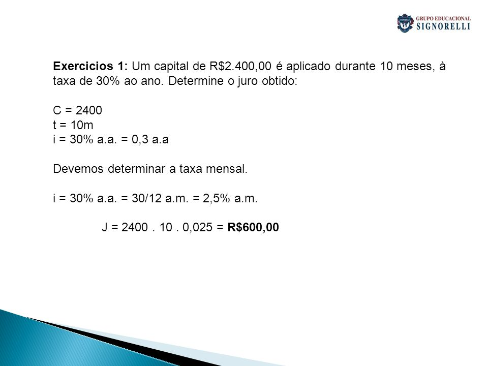 Exercicios 1: Um capital de R$2