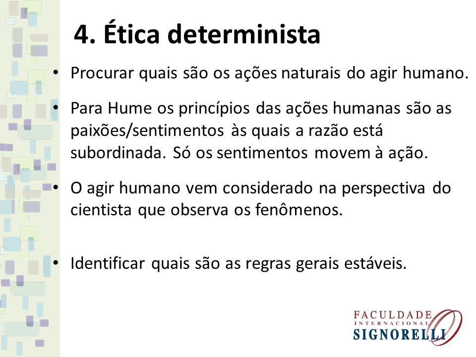 4. Ética determinista Procurar quais são os ações naturais do agir humano.