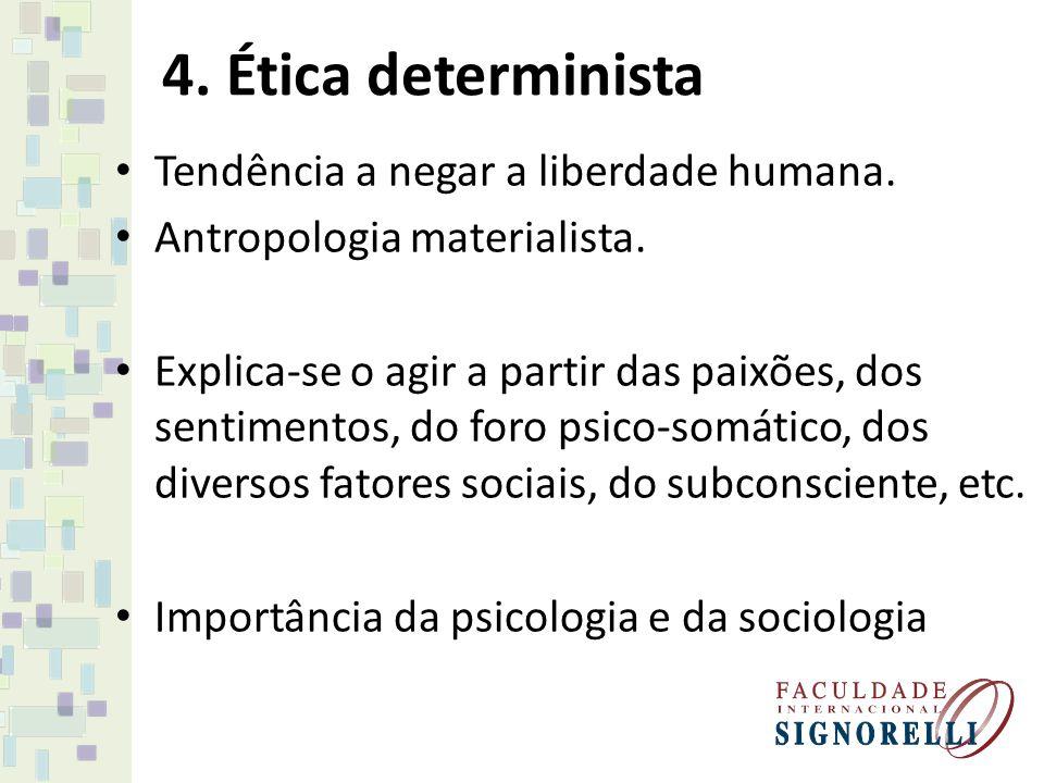 4. Ética determinista Tendência a negar a liberdade humana.