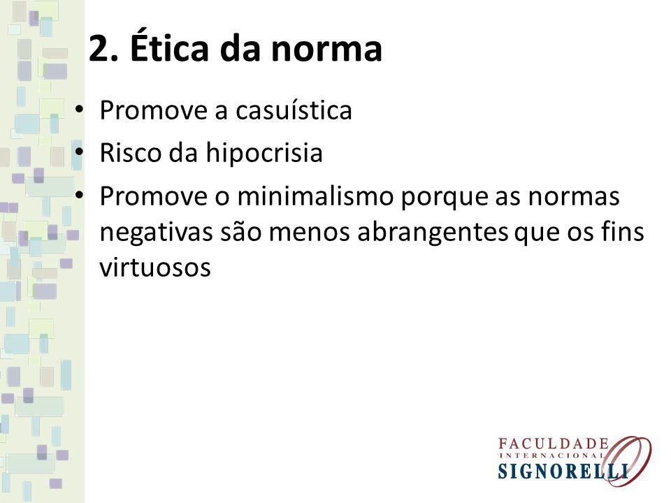 2. Ética da norma Promove a casuística Risco da hipocrisia