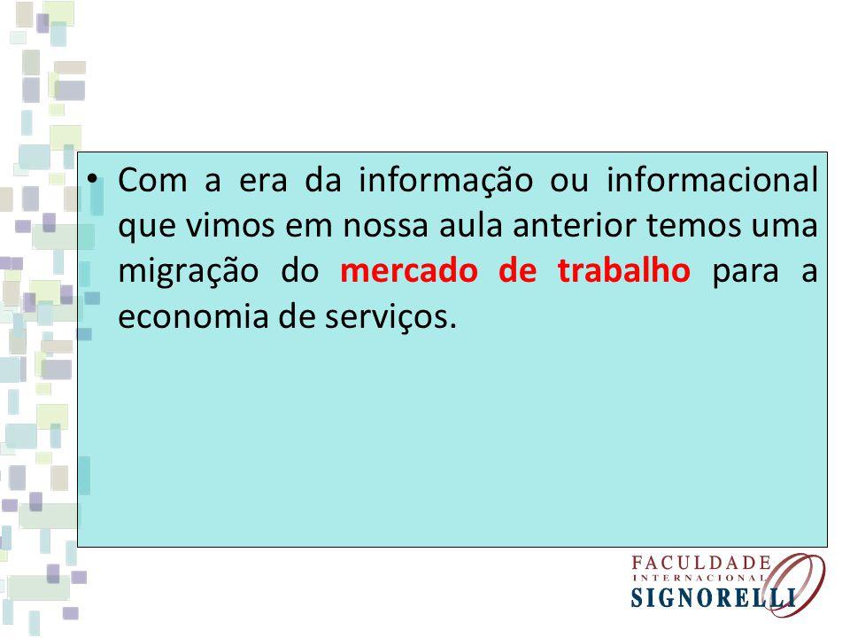 Com a era da informação ou informacional que vimos em nossa aula anterior temos uma migração do mercado de trabalho para a economia de serviços.