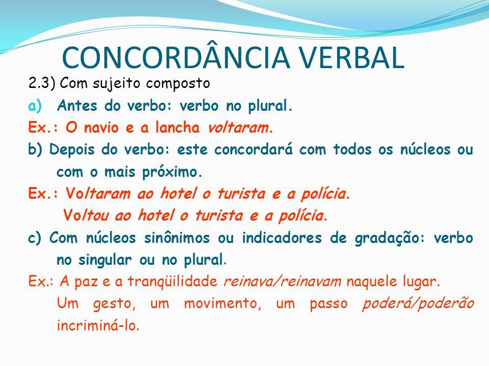 CONCORDÂNCIA VERBAL 2.3) Com sujeito composto