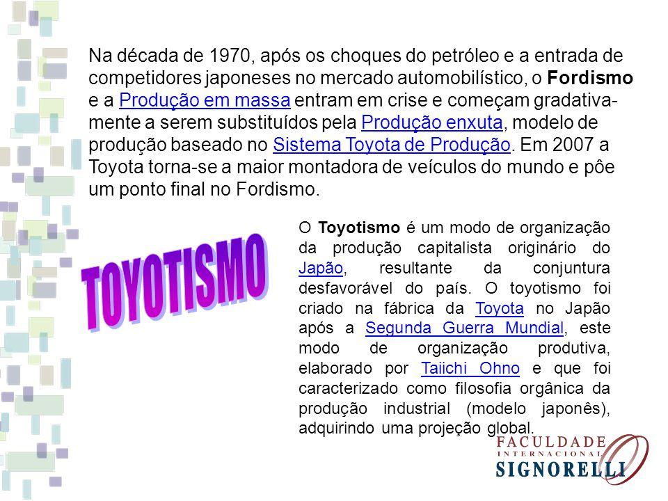 Na década de 1970, após os choques do petróleo e a entrada de competidores japoneses no mercado automobilístico, o Fordismo e a Produção em massa entram em crise e começam gradativa-mente a serem substituídos pela Produção enxuta, modelo de produção baseado no Sistema Toyota de Produção. Em 2007 a Toyota torna-se a maior montadora de veículos do mundo e pôe um ponto final no Fordismo.
