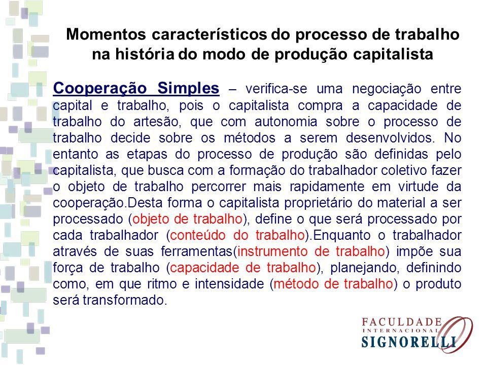 Momentos característicos do processo de trabalho na história do modo de produção capitalista