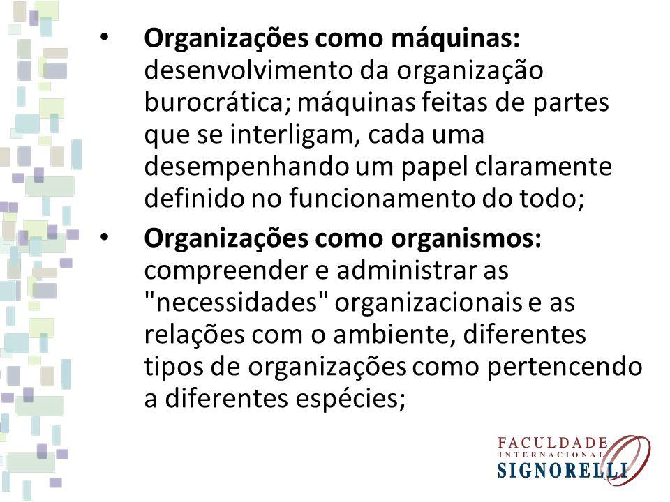 Organizações como máquinas: desenvolvimento da organização burocrática; máquinas feitas de partes que se interligam, cada uma desempenhando um papel claramente definido no funcionamento do todo;
