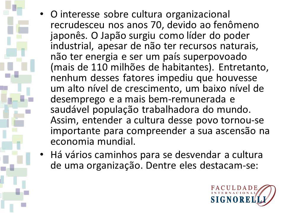 O interesse sobre cultura organizacional recrudesceu nos anos 70, devido ao fenômeno japonês. O Japão surgiu como líder do poder industrial, apesar de não ter recursos naturais, não ter energia e ser um país superpovoado (mais de 110 milhões de habitantes). Entretanto, nenhum desses fatores impediu que houvesse um alto nível de crescimento, um baixo nível de desemprego e a mais bem-remunerada e saudável população trabalhadora do mundo. Assim, entender a cultura desse povo tornou-se importante para compreender a sua ascensão na economia mundial.