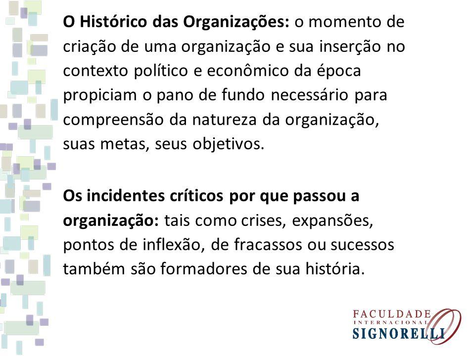 O Histórico das Organizações: o momento de