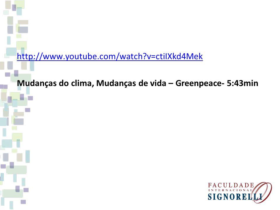 http://www.youtube.com/watch v=ctiIXkd4Mek Mudanças do clima, Mudanças de vida – Greenpeace- 5:43min.