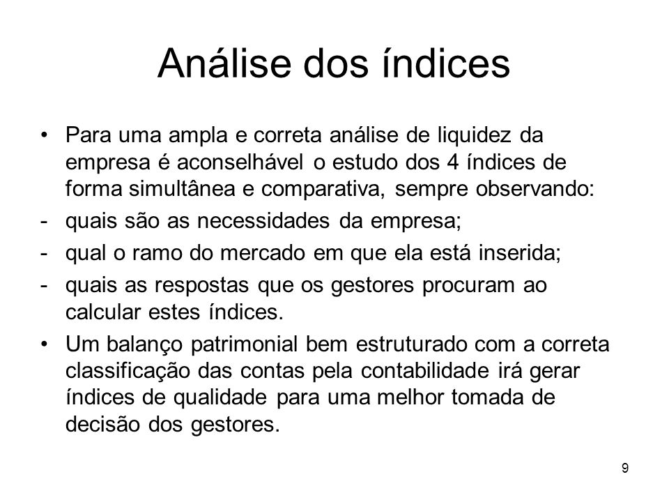 Análise dos índices