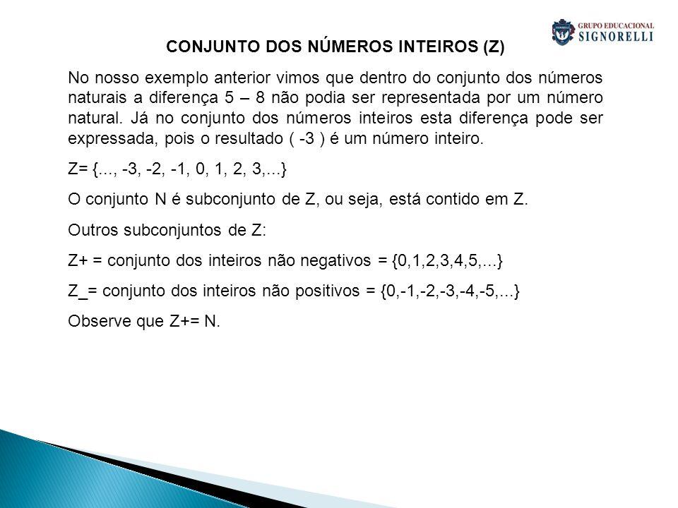 CONJUNTO DOS NÚMEROS INTEIROS (Z)