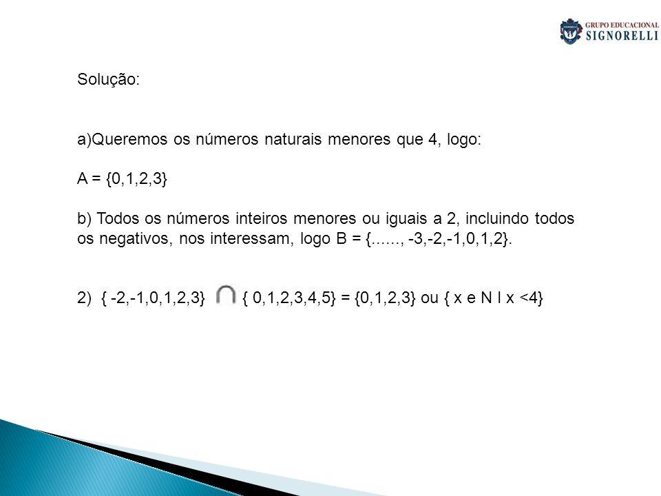 Solução: Queremos os números naturais menores que 4, logo: A = {0,1,2,3}