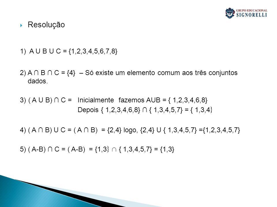 Resolução 1) A U B U C = {1,2,3,4,5,6,7,8} 2) A ∩ B ∩ C = {4} – Só existe um elemento comum aos três conjuntos dados.