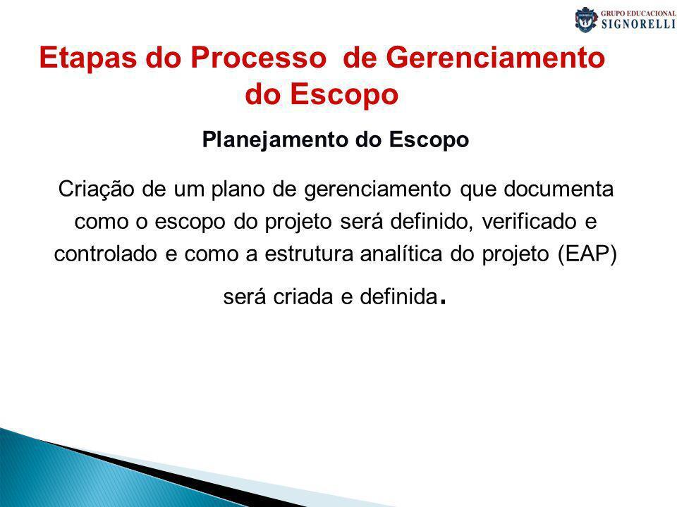 Etapas do Processo de Gerenciamento do Escopo