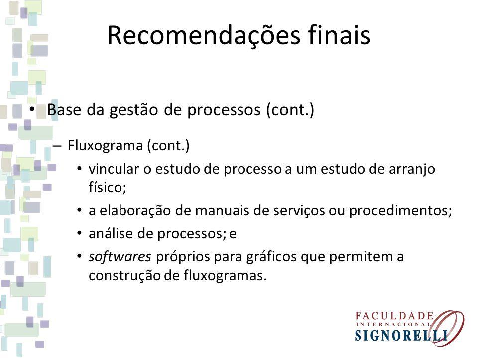 Recomendações finais Base da gestão de processos (cont.)
