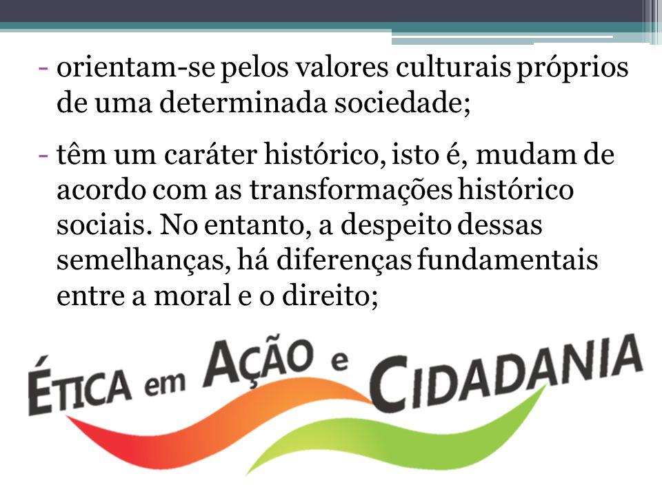 orientam-se pelos valores culturais próprios de uma determinada sociedade;