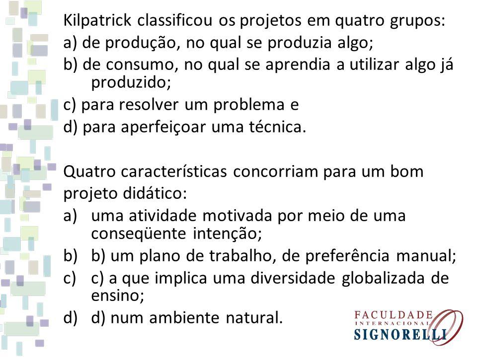 Kilpatrick classificou os projetos em quatro grupos: