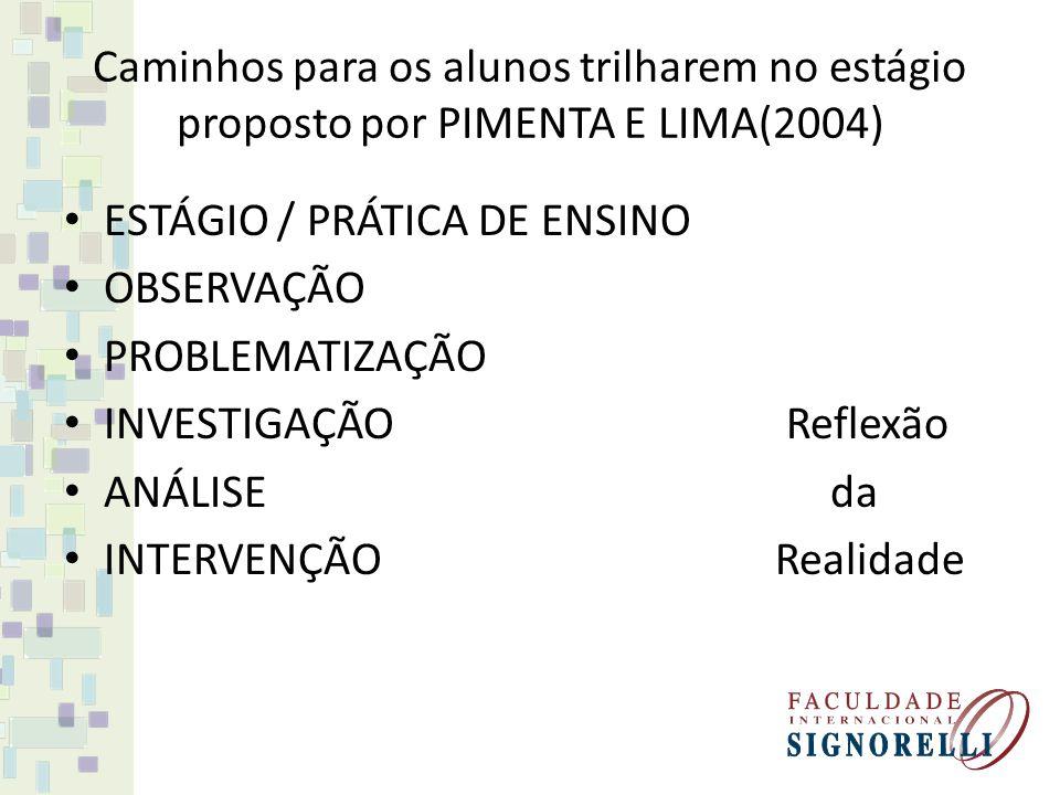 Caminhos para os alunos trilharem no estágio proposto por PIMENTA E LIMA(2004)