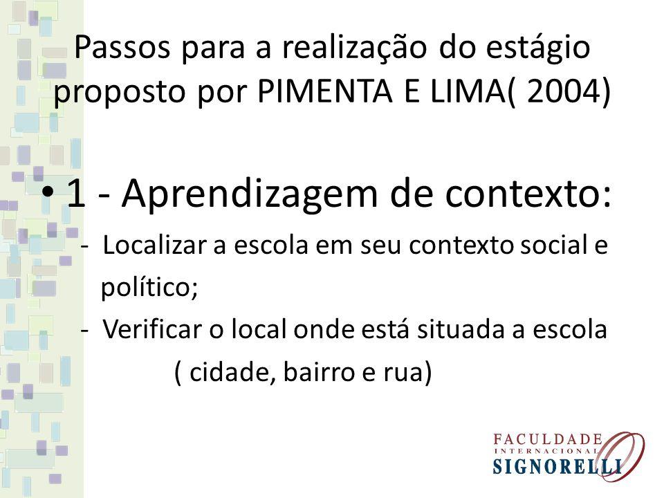 Passos para a realização do estágio proposto por PIMENTA E LIMA( 2004)