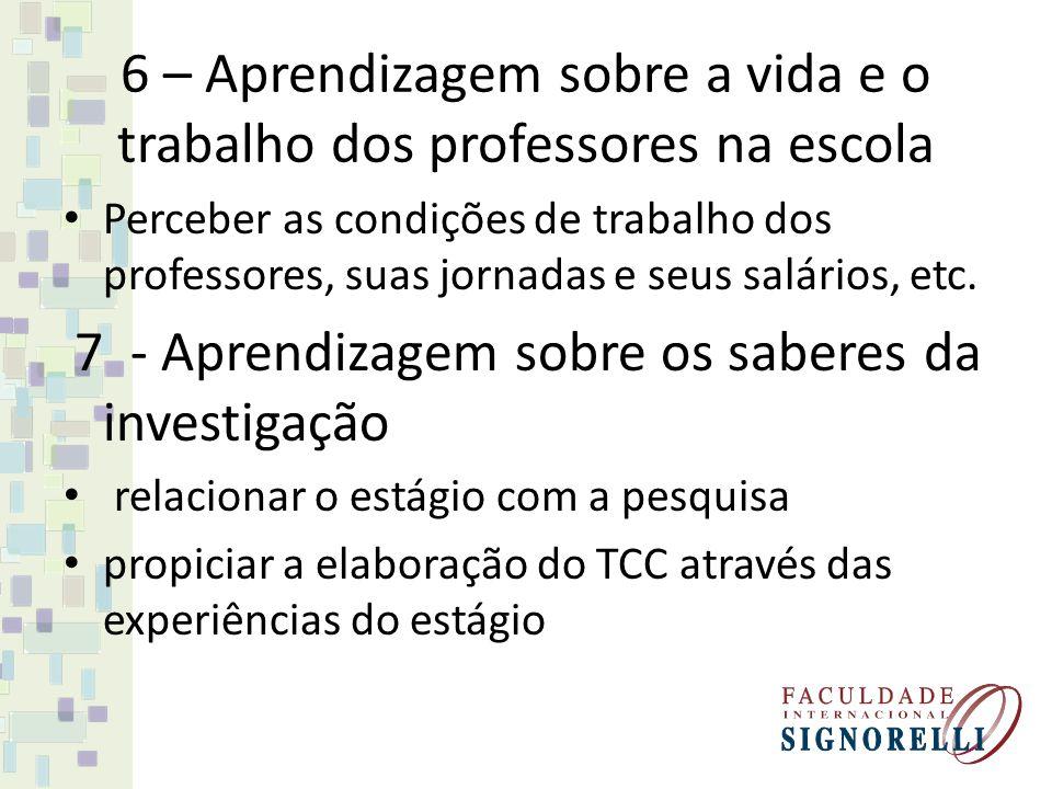 6 – Aprendizagem sobre a vida e o trabalho dos professores na escola