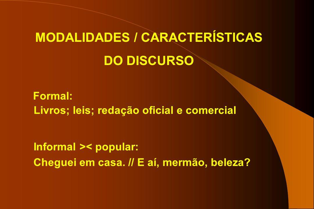 MODALIDADES / CARACTERÍSTICAS DO DISCURSO