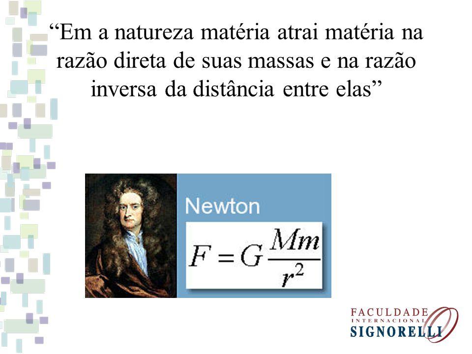 Em a natureza matéria atrai matéria na razão direta de suas massas e na razão inversa da distância entre elas