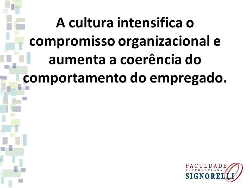 A cultura intensifica o compromisso organizacional e aumenta a coerência do comportamento do empregado.