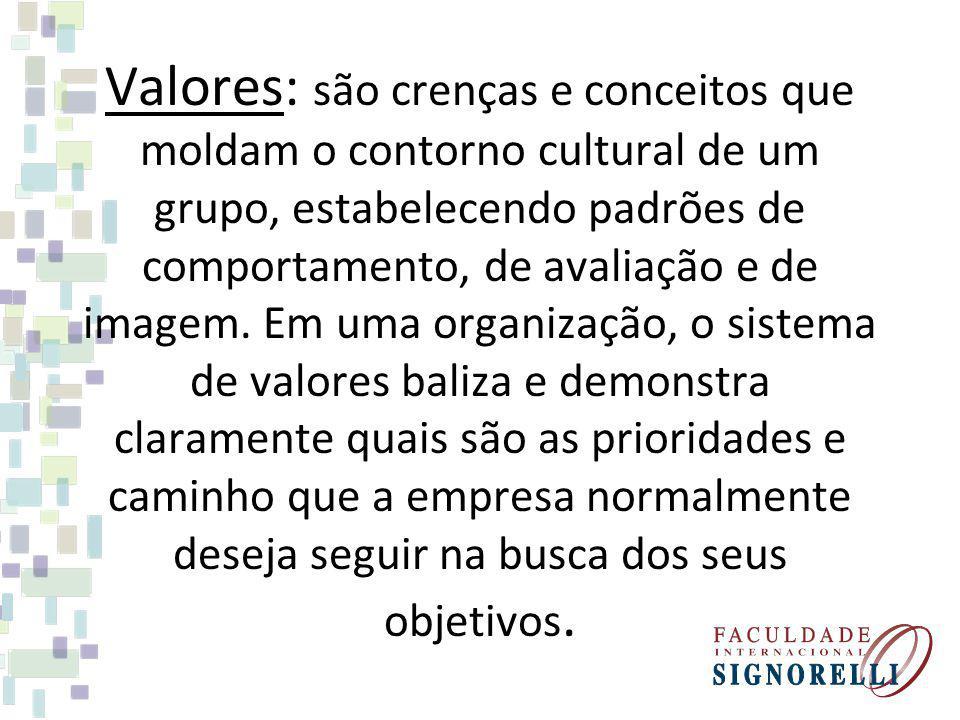 Valores: são crenças e conceitos que moldam o contorno cultural de um grupo, estabelecendo padrões de comportamento, de avaliação e de imagem.