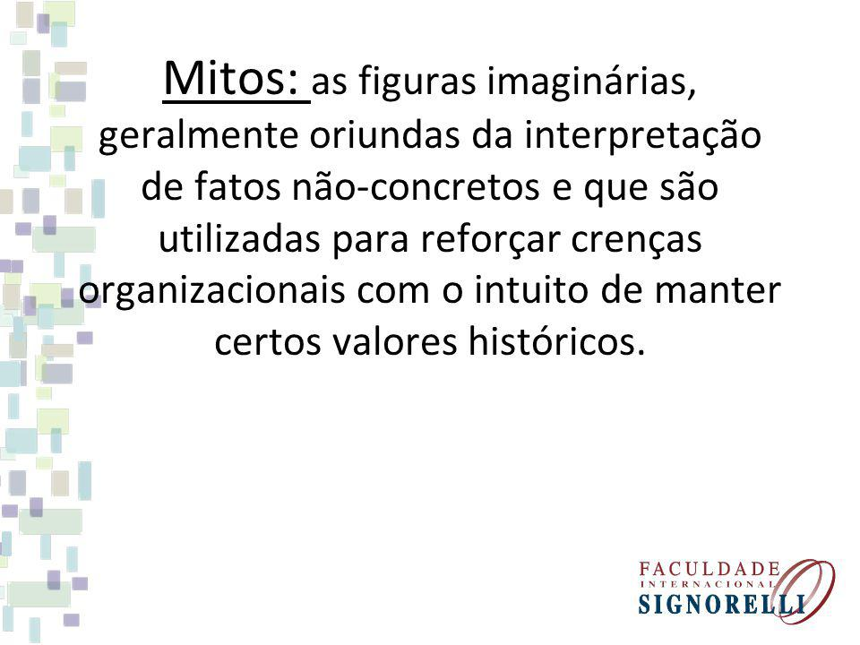 Mitos: as figuras imaginárias, geralmente oriundas da interpretação de fatos não-concretos e que são utilizadas para reforçar crenças organizacionais com o intuito de manter certos valores históricos.