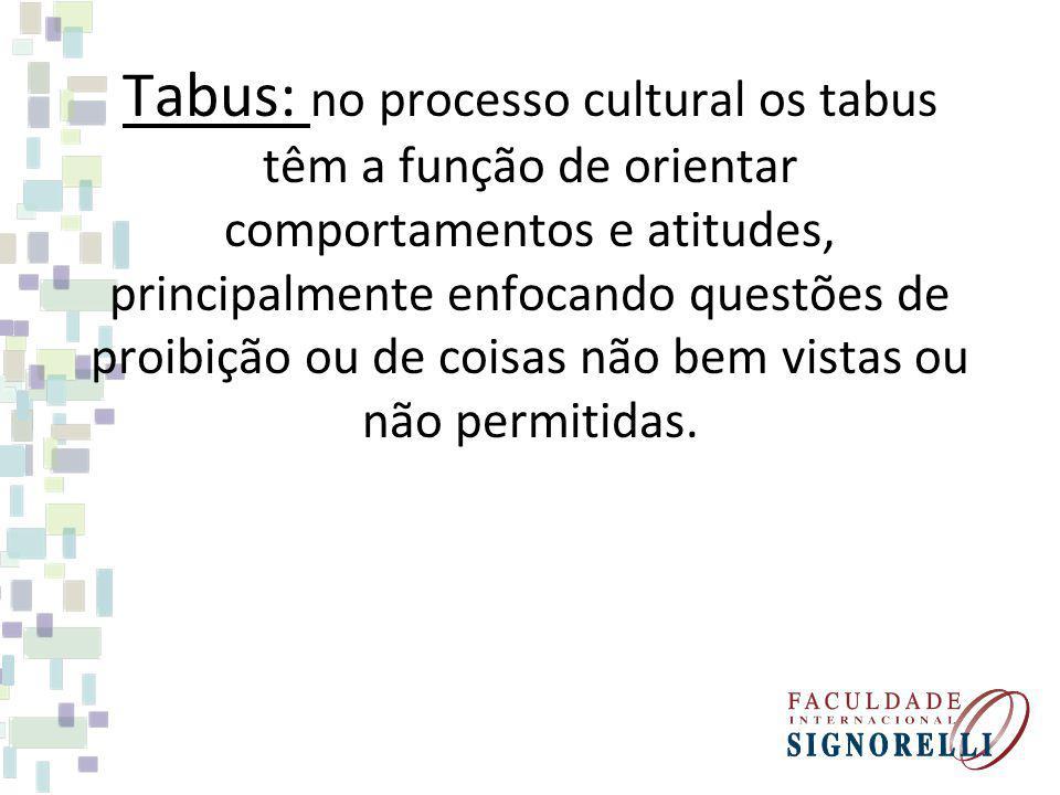 Tabus: no processo cultural os tabus têm a função de orientar comportamentos e atitudes, principalmente enfocando questões de proibição ou de coisas não bem vistas ou não permitidas.
