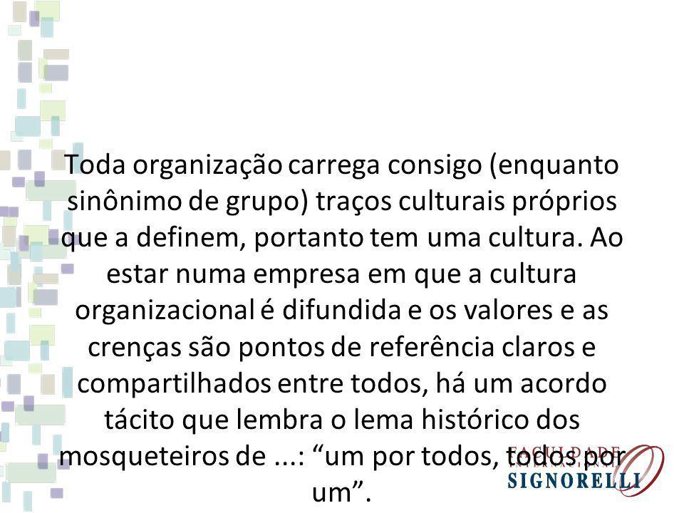 Toda organização carrega consigo (enquanto sinônimo de grupo) traços culturais próprios que a definem, portanto tem uma cultura.