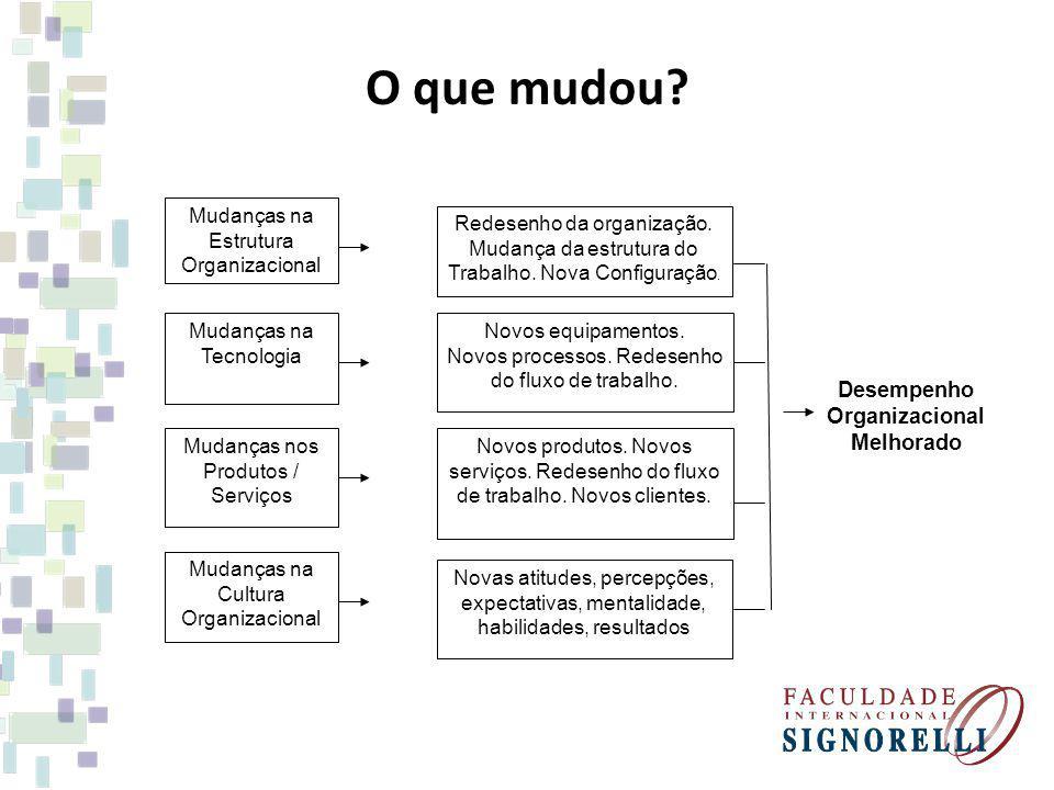 O que mudou Desempenho Organizacional Melhorado