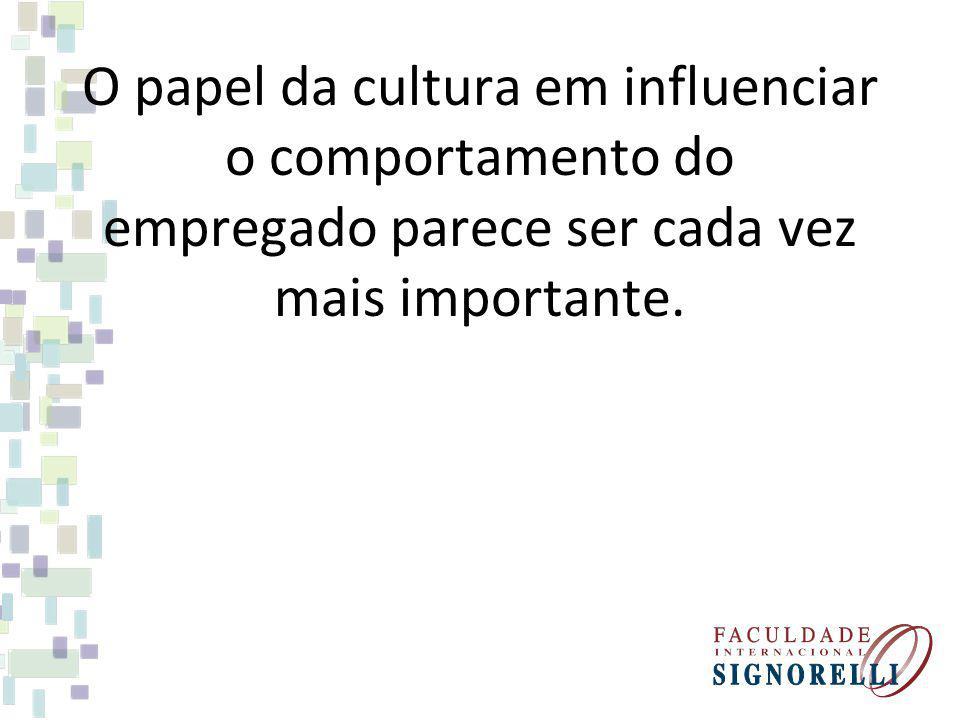 O papel da cultura em influenciar o comportamento do empregado parece ser cada vez mais importante.