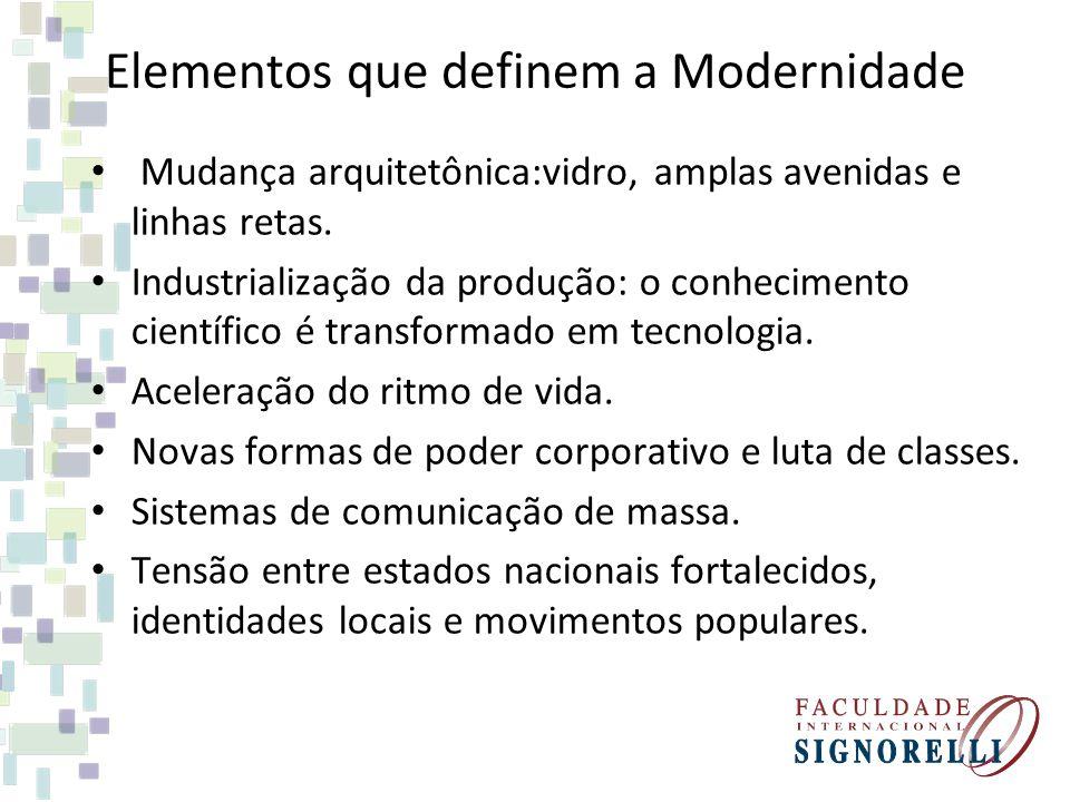 Elementos que definem a Modernidade