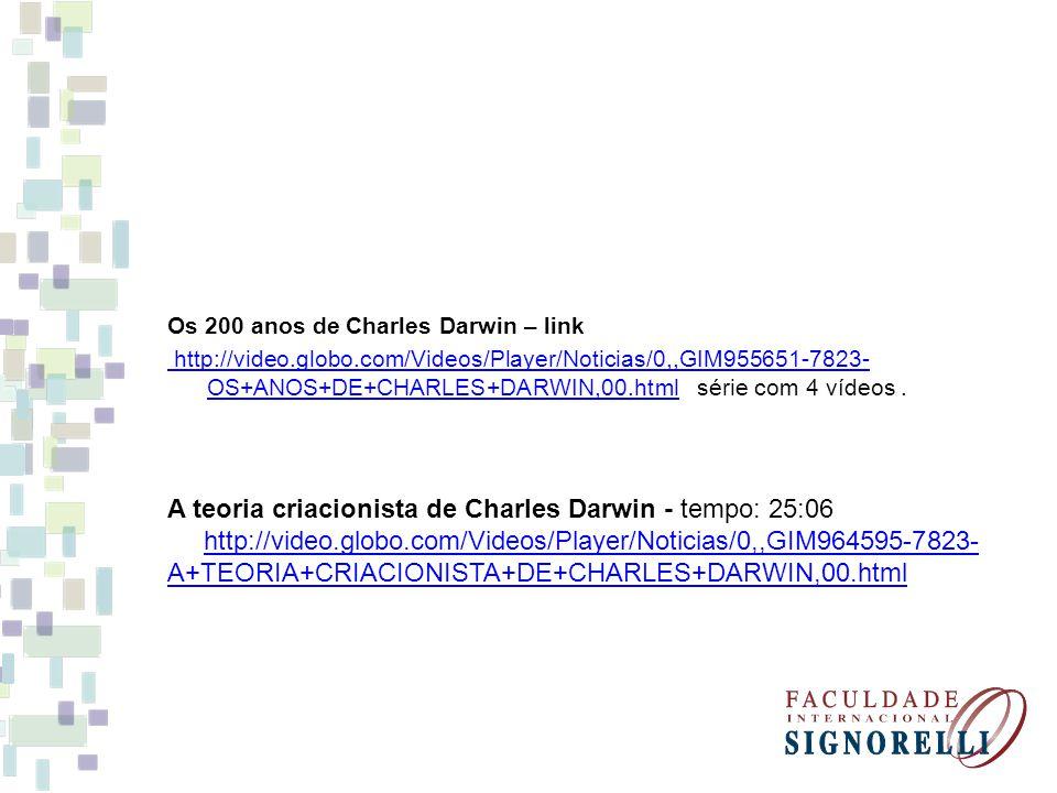 A teoria criacionista de Charles Darwin - tempo: 25:06
