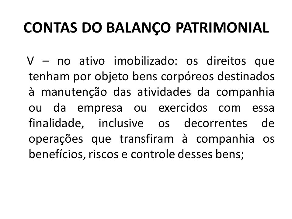 CONTAS DO BALANÇO PATRIMONIAL