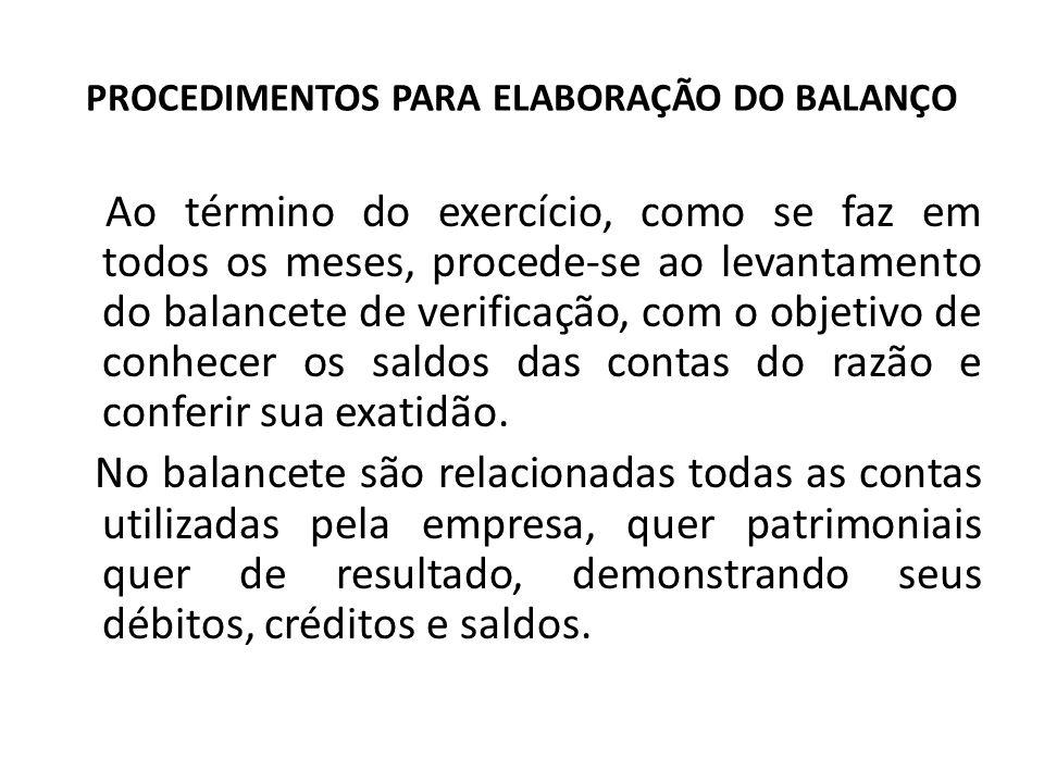 PROCEDIMENTOS PARA ELABORAÇÃO DO BALANÇO