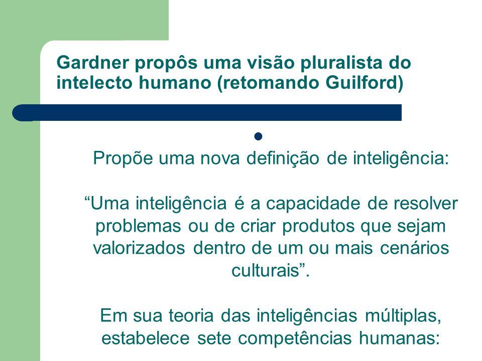 Gardner propôs uma visão pluralista do intelecto humano (retomando Guilford)