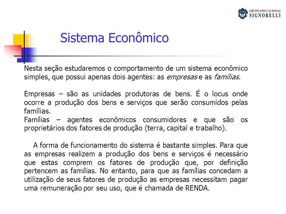 Sistema Econômico Nesta seção estudaremos o comportamento de um sistema econômico simples, que possui apenas dois agentes: as empresas e as famílias.