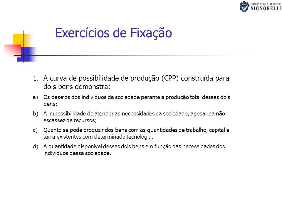 Exercícios de Fixação A curva de possibilidade de produção (CPP) construída para dois bens demonstra: