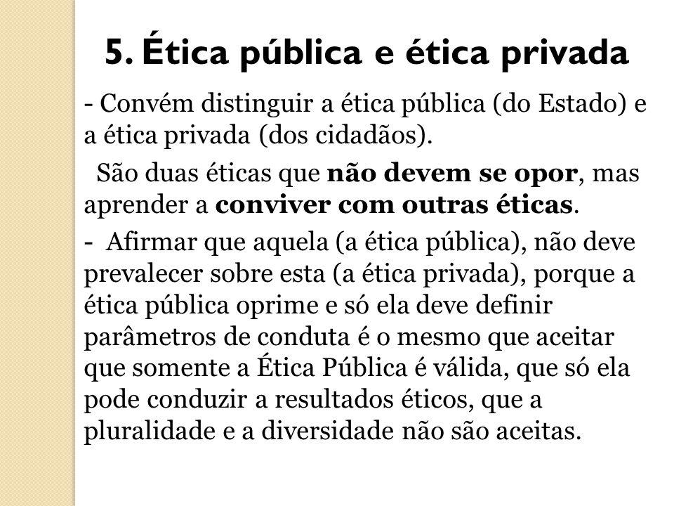5. Ética pública e ética privada