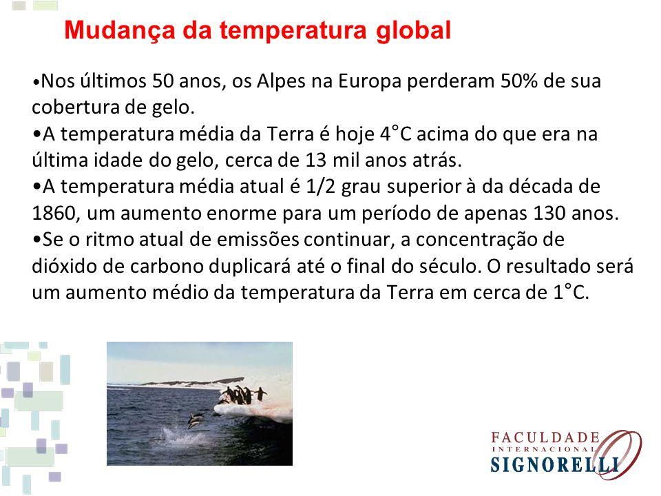 Mudança da temperatura global •Nos últimos 50 anos, os Alpes na Europa perderam 50% de sua cobertura de gelo.